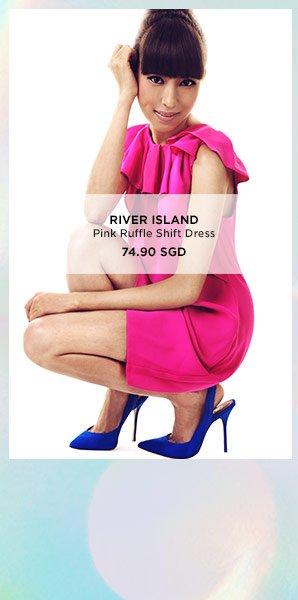 RIVER ISLAND Pink Ruffle Shift Dress