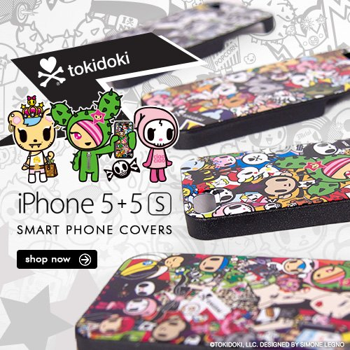 Personalize your iPhone 5 + 5s with our new tokidoki and TKDK cases! With four classic styles to choose from, these smart phone covers are essential to any tokidoki collection.
