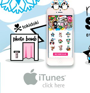 Now Available on tokidoki Photo Bomb: Holiday Stickers! We've added a new holiday sticker pack including 3 free Holiday stickers! Click here for iPhone