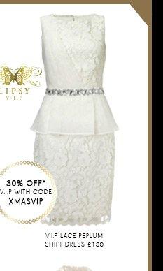 V I P Lace Peplum Shift Dress
