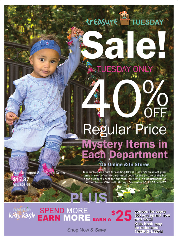 40%  Off Selected New Transitions 2014 Styles! Treasure Tuesday-Today Only + Time to  Earn $25 Off $50 Kids Kash Coupons