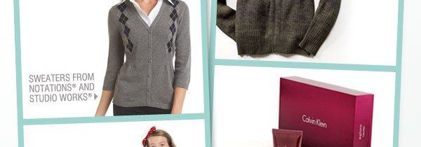Sweaters from Notations® and Studio Works