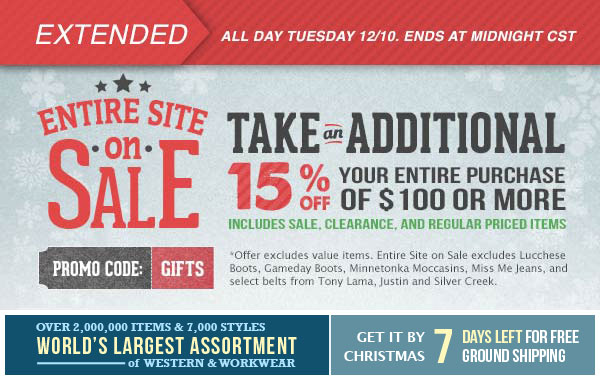 Entire Site on Sale and Take an Additional 15% off Your Entire Purchase of $150 or More.