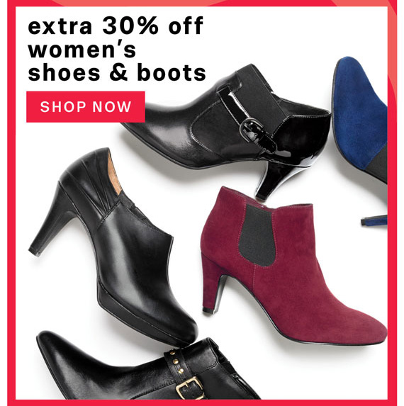 Extra 30% off Women's shoes and boots. Shop Now.