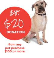 $20 DONATION from any pet purchase $100 or more.