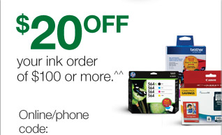 $20 off your ink order of $100  or more.^^ Expires 12/14/13.