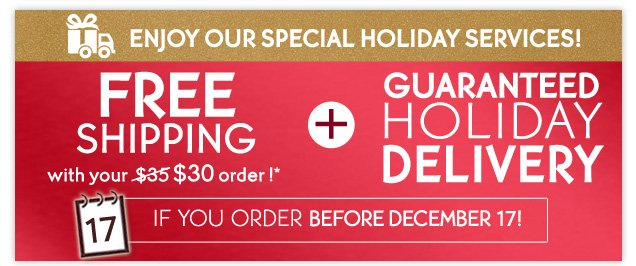 ENJOY OUR SPECIAL HOLIDAY SERVICES!