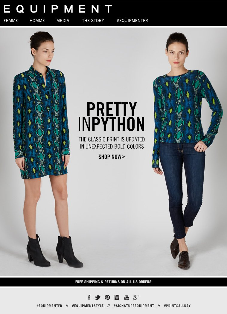 PRETTY IN PYTHON THE CLASSIC PRINT IS UPDATED IN UNEXPECTED BOLD COLORS SHOP NOW>