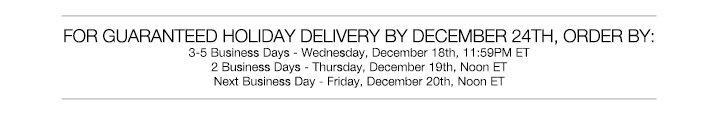 Holiday Shipping **