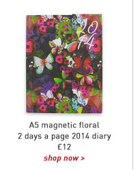 a5 magnetic floral 2 days a page 2014 diary