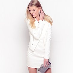 Winter White Coats, Blouses & Dresses