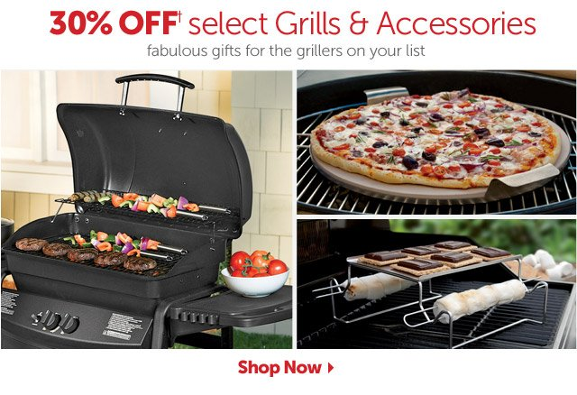 30% OFF+ select Grills & Accessories - fabulous gifts for the grillers on your list - Shop Now