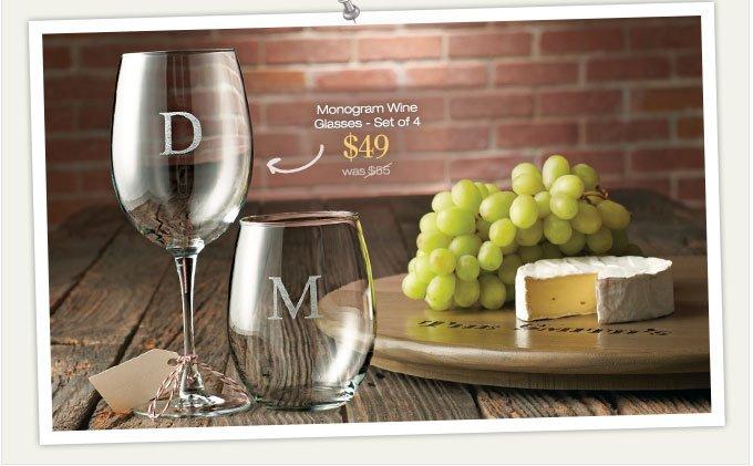 Monogram Wine Glasses - Set of 4 | $49 was $85