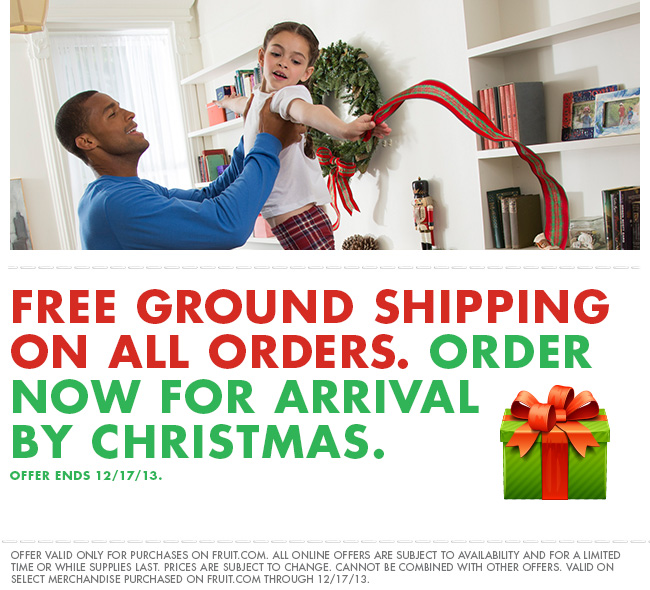 Free ground shipping on all orders. Order now for arrival by Christmas. Offer ends 12/17/13.