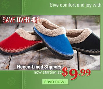Fleece-Lined Slippers, item #614258, now starting at $9.99