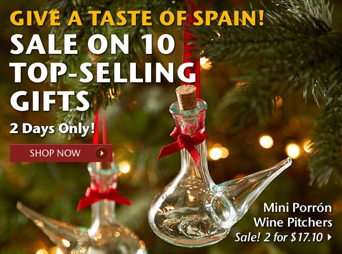 Give a Taste of Spain - Sale on 10 Top-Selling Gifts - 2 Days Only! - Mini Porron Wine Pitchers - On Sale for $17.10 - Shop Now