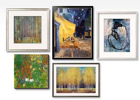 Blue Nude c1902 By: Pablo Picasso; Tannenwald (Pine Forest) 1902 By: Gustav Klimt; The Café Terrace on the Place du Forum Arles at Night c1888 By: Vincent Van Gogh; Farm Garden with Sunflowers c1912 By: Gustav Klimt; Golden Grove By: Melissa Graves-Brown