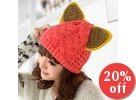 Ear-Accent Cable-Knit Beanie