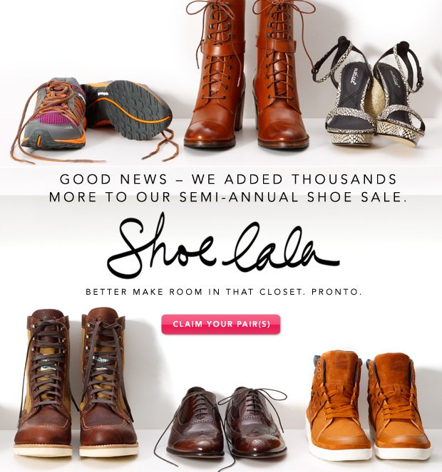 Shoe La La: Even more styles added.
