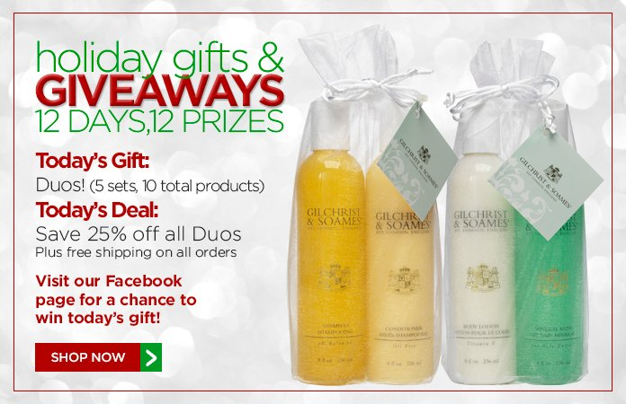 12 Days of Gifts & Giveaways: 25% off all Duos + free shipping on all orders.