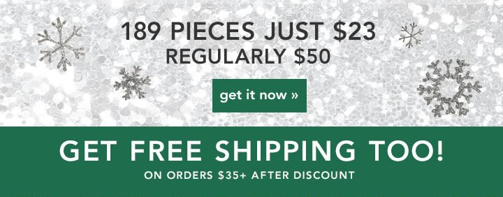 189 Pieces JUst $23 Get It Now! Get Free Shipping Too!