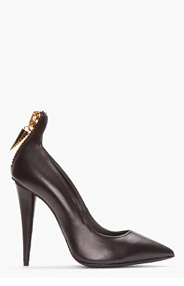 GIUSEPPE ZANOTTI Black Leather Zippered Pumps for women