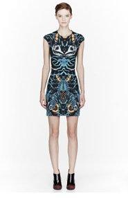 MCQ ALEXANDER MCQUEEN Dark Teal Interlock shell print Short Dress for women