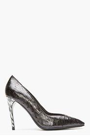 MUGLER Black Ostrichskin Marbled-Heel Pumps for women