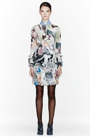 CARVEN Green & white collage dress for women