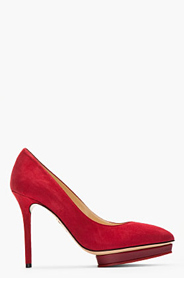 CHARLOTTE OLYMPIA Maroon suede Low Island Platform pumps for women