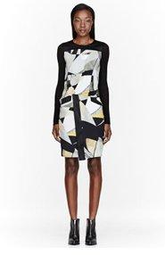 HELMUT LANG Grey & Yellow Overlap Cubist Print Dress for women