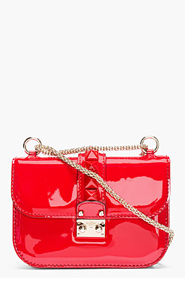 VALENTINO Red Patent Leather Studded Punkouture Shoulder Bag for women