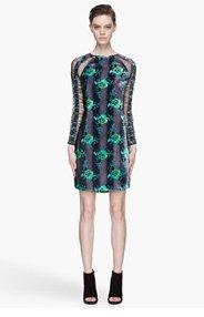 CHRISTOPHER KANE Green floral Velvet and mesh Raglan Dress for women