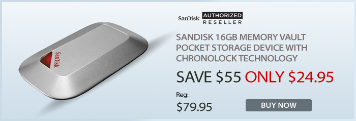 Adorama - SanDisk 16GB Memory Vault, Pocket Storage Device with Chronolock Technology