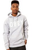 The Collegiate Obey Pullover Hoody in Heather Grey
