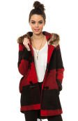 The Iris Buffalo Plaid Fur Hood Parka in Red and Black