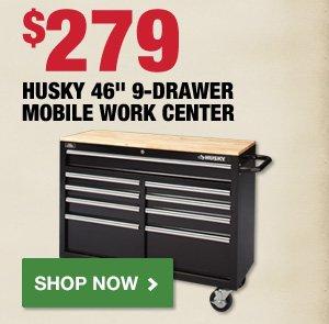 $279 Husky 46 inch 9 Drawer Mobile Work Center