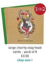 large charity stag head cards - pack of 8