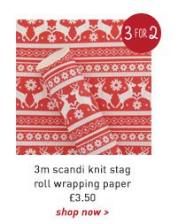 3m scandi knit stag roll wrapping paper