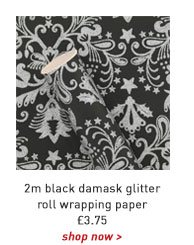 2m black damask glitter roll wrapping paper