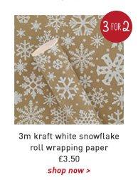 3m kraft white snowflake roll wrapping paper