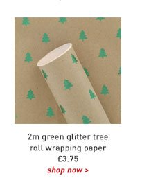 2m green glitter tree roll wrapping paper
