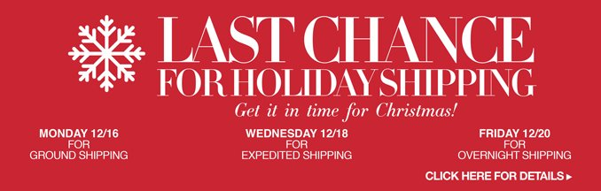 C21 Holiday Shipping Deadlines