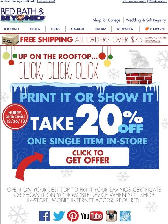 Bed Bath And Beyond Your 20 Off 1 Item In Store Savings