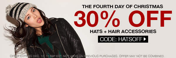 Take 30% off hats and hair accessories! CODE: HATSOFF