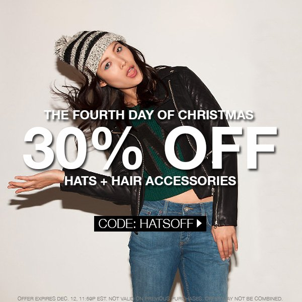 Take 30% off all Hats + Hair Accessories for One Day Only!