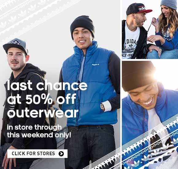 Last chance at 50% off outerwear, in-store through this weekend only! Click for stores