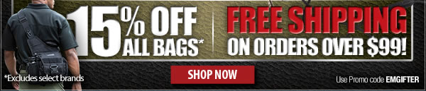15 percent off all bags + free shipping on orders of 99 dollars or more!