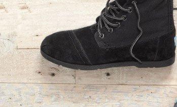 Black Canvas Suede Utility Boots
