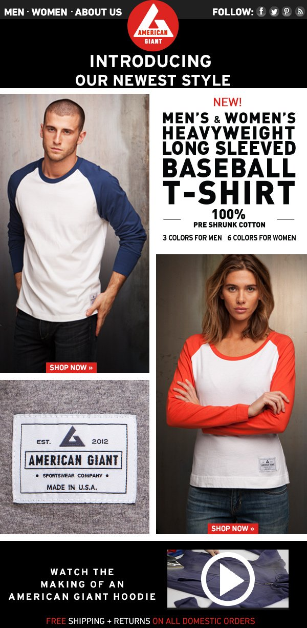 Men's and Women's Baseball T-Shirts Available Now